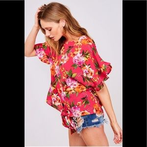 A Girl Thing Tops - Fuchsia Floral Ruffle Print Top